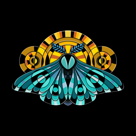 Night moth in ethnic style. Vector illustration of a butterfly on a black background. Use on the T-shirt and textile Illustration