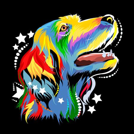 Vector afbeelding van een hond in de stijl van pop-art
