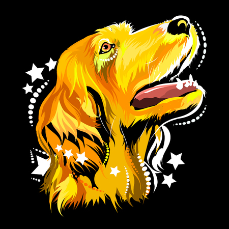 Vector image of a dog in the style of pop art Illustration