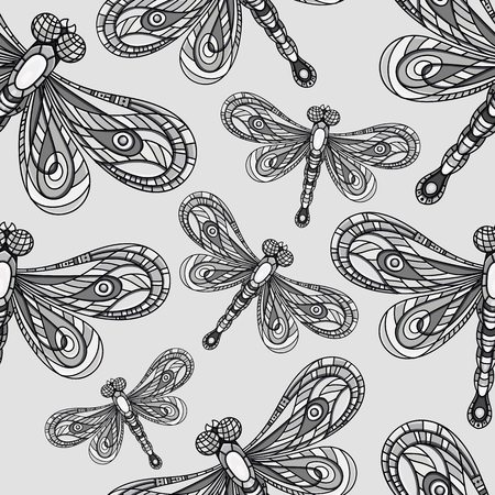 Dragonfly seamless pattern. Dragonfly background. Creative background with insect. Vector illustration. Wallpaper for textile and fabric. Fashion style. Colorful bright
