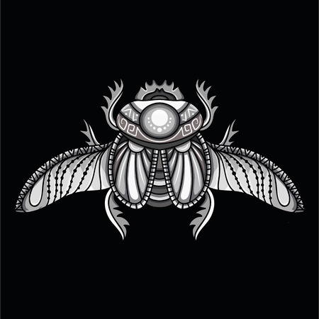 Egyptian scarab symbol of pharaoh, gods Ra, sun. Mythology t-shirt design, tattoos of ancient Egypt 向量圖像