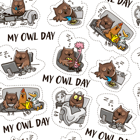 Owl and the day of the owl. Humorous comics about the life of an owl, day and night. Archivio Fotografico - 109850102