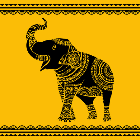 Vector Ethnic elephant. Hand drawn ornate elephant. Isolated vector illustration. Ideal ethnic background 矢量图像