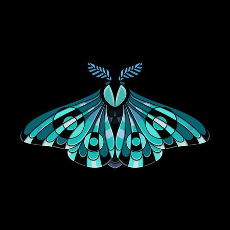 Night moth in ethnic style. Vector illustration of a butterfly on a black background. Use on the T-shirt and textile Illusztráció