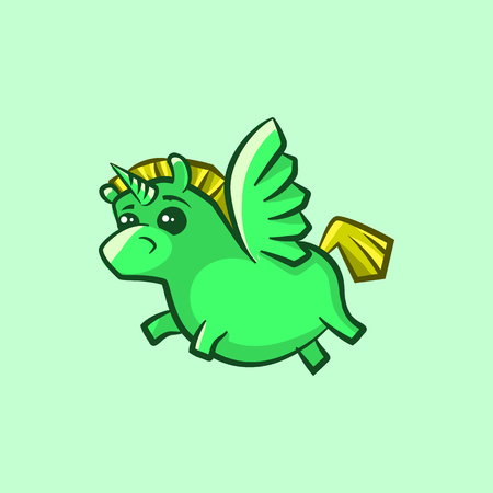 Vector image of a unicorn with wings in a childrens style