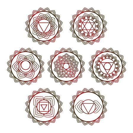 Yoga vector design. 7 chakra mandalas. Sahasrara, anahata, Muladhara, Svadhisthana, Manipur, Vishudha, Ajna.