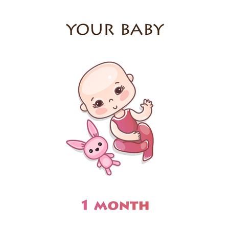 Étapes du développement de l'enfant au cours de la première année de vie. Le premier mois d'un bébé. Jalons enfants de la première année. Illustration vectorielle coloré isolé sur fond blanc