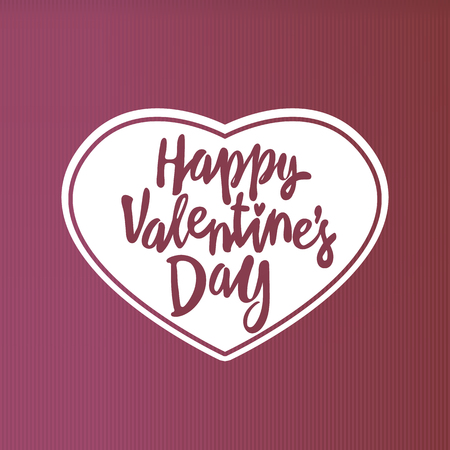 Happy Valentine's day greeting card template with typography text in heart shape red many cut paper hearts isolated on white background. Lettering valentine's day