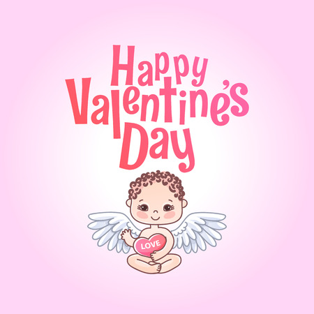 Happy Valentines day. Greeting card. Angel, Cupid and heart. Vector illustration and Lettering