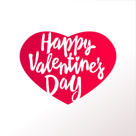 Happy Valentines day greeting card template with typography text in heart shape red many cut paper hearts isolated on white background. Lettering valentines day