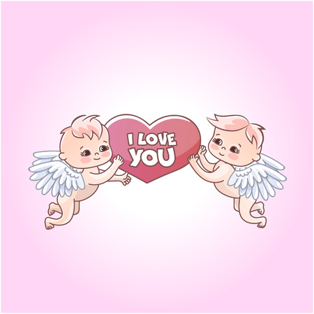 Angels babies stickers for gift on valentines day. Angels with hearts in their hands. Postcard and declaration of love Ilustração