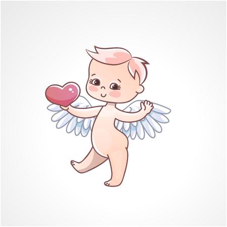 Bebé ángel con corazón en manos sobre un fondo blanco. Tarjeta de felicitación para el día de San Valentín. Ilustración de vector