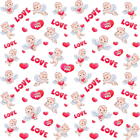 Angels and hearts pattern for Valentine's day gift. Angels with hearts in their hands. Vector seamless pattern with serge and angels babies Illustration