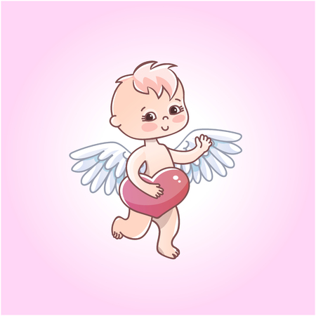 Angel baby with heart in hands on a white background. Greeting card for Valentine's day.