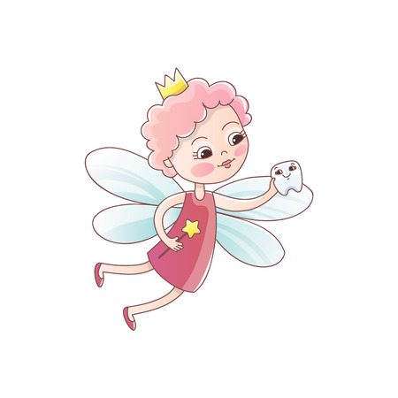 Tooth fairy with a baby milk tooth and a magic wand. Tooth fairy girl flying Fantastic vector illustration in cartoon style isolated on white background.