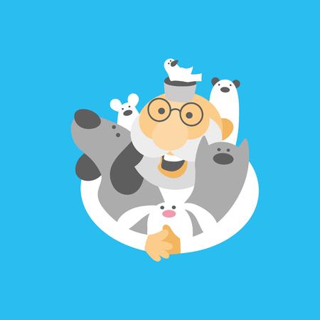Tierarzt mit Haustieren, Katze, Hund, Maus, Vogel, Frettchen und Kaninchen.