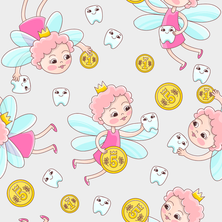 A tooth fairy with a coin flew over for a baby milk tooth. Vector seamless pattern in a cartoon style for pediatric stomatology or for a child dentist 向量圖像