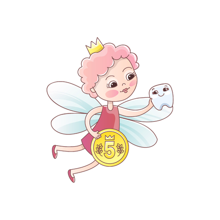 Tooth fairy with a baby milk tooth and a magic wand. Tooth fairy girl flying Fantastic vector illustration in cartoon style isolated on white background. 向量圖像