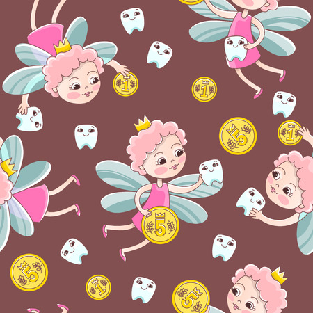 A tooth fairy with a coin flew over for a baby milk tooth. Vector seamless pattern in a cartoon style for pediatric stomatology or for a child dentist Vettoriali