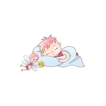 A tooth fairy with a coin flew for a baby tooth. The baby is sleeping on the pillow. Milk tooth under the pillow. Vector illustration