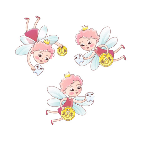 Tooth fairy with a baby milk tooth and coin. Tooth fairy girl flying Fantastic vector illustration in cartoon style isolated on white background.