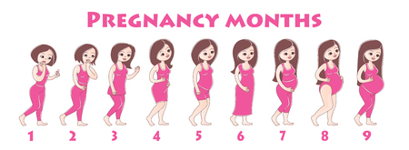 Infographics girls pregnancy by month.Many young girls are standing one behind other, concept of stages of pregnancy, Pregnant female with doctor. Paperboard to present. infographic.