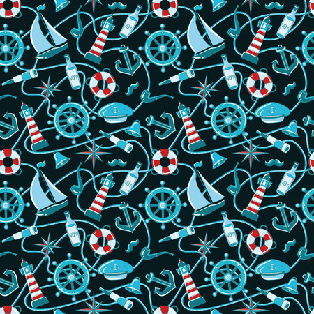 Sailor pattern. Seamless pattern of a pirate ship and attributes. hand-drawn illustration