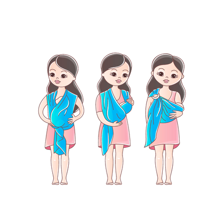 Mothers with his babies in sling scarf. Three positions of baby in sling scarf. Isolated on white background. Ilustración de vector