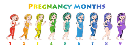 Pregnant girls. Vector illustration in cartoon style on a white background. Postcard, poster, poster for pregnant women