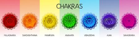 Chakras set: muladhara, swadhisthana, manipura, anahata, vishuddha, ajna, sahasrara. Vector line symbol. Om sign Illustration