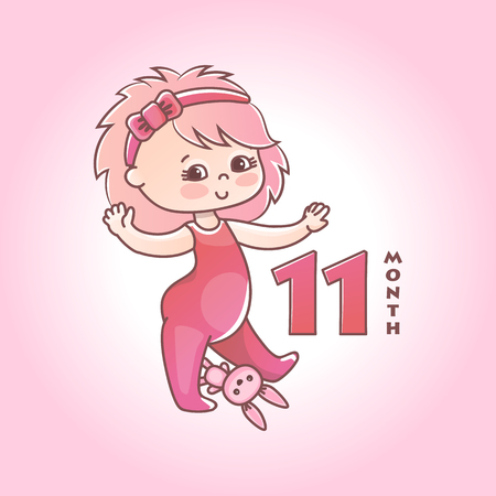 Little baby girl with pink bow and toy bunny. Stages of child development in the first year of life. The eleventh month of a baby girl. Vector Illustration isolated on pink background 向量圖像
