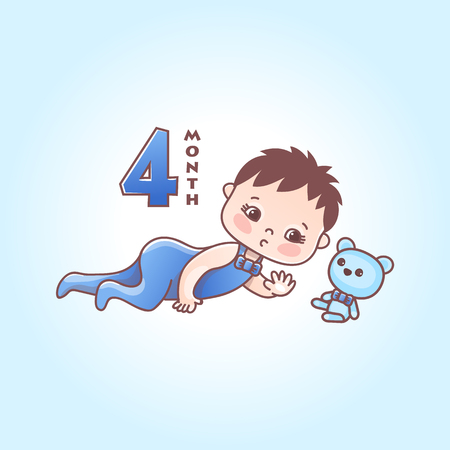 Little baby boy. The four months of a baby. Vector Illustration isolated