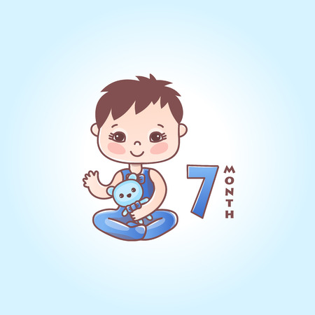 Little baby boy. The seventh month of a baby boy. Vector Illustration isolated 向量圖像