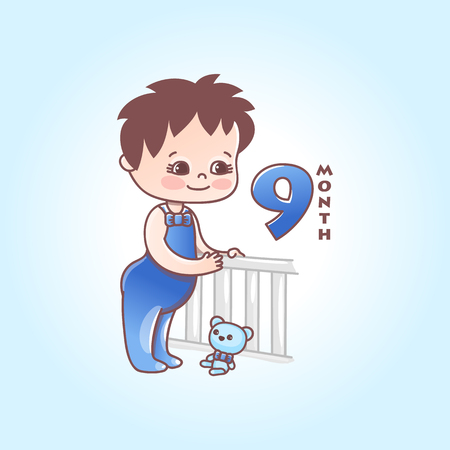 Little baby boy. The ninth months of a baby. Vector Illustration isolated