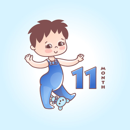 Little baby boy. The eleven months of a baby. Vector Illustration isolated