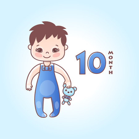 Little baby boy. The ten months of a baby. Vector Illustration isolated 向量圖像