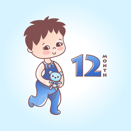 Little baby boy. First year of a baby. Vector Illustration isolated