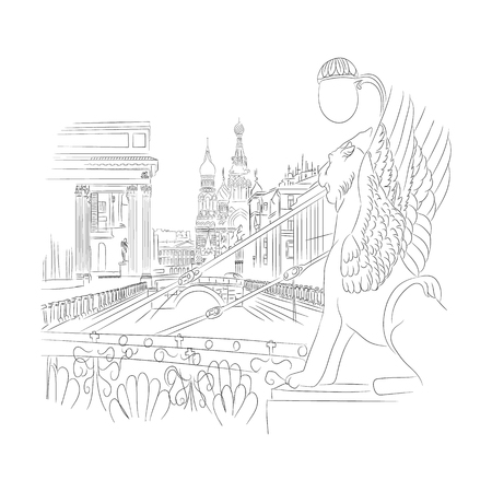 Winged lion silhouette St. Petersburg landmark Russia, Vector hand drawn engraved illustration,ink sketch isolated on white background, decorative sculpture, Historical line art for touristic postcard