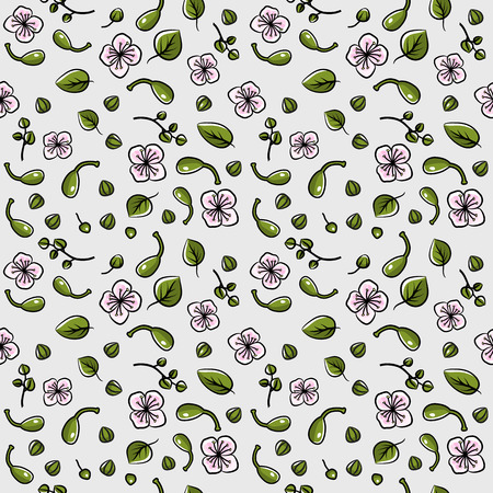 Seamless pattern with caper: caper bud, pod and flower. Vector hand drawn illustration.
