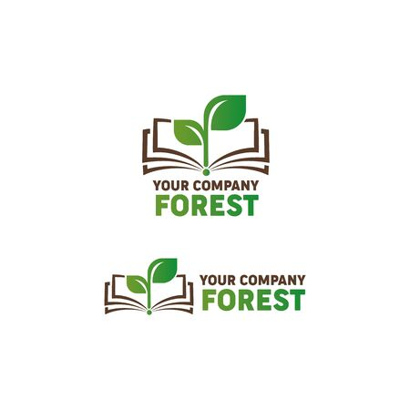 Logo open book and green sprout. Symbol of knowledge, ecology, forest. Vector logo for your company.
