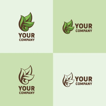 Green sheets vector logo for your company. Beautiful patterned vector sheet. Symbol of ecology and naturalness.