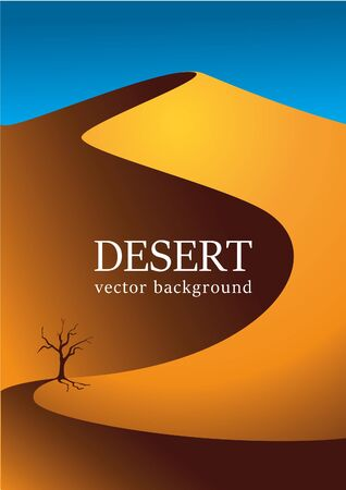 Vector image of the desert. An old tree stands in the middle of the desert. Vector background Stock Illustratie