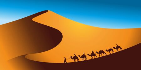 Camel caravan goes through the desert landscape. Vector illustration of Sahara or Namibia desert.