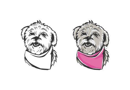 Hand drawn portrait lapdog. Dog, pet, animal sketch.