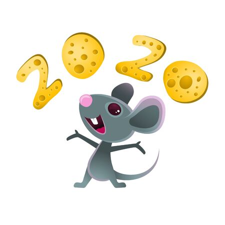 Symbol of 2020, a cheerful gray mouse juggles cheese. Mouse and cheese. Year of the rat and mouse.Template card for Happy new year party. Lunar horoscope sign. Vector illustration.