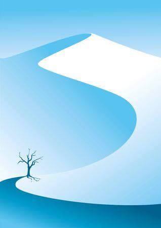 Winterberge. Schneeberg. Einsamer Baum im Schnee. Vektor-Illustration geeignet für Poster