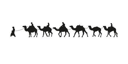 Camel caravan silhouette. Vector illustration isolated on white background.