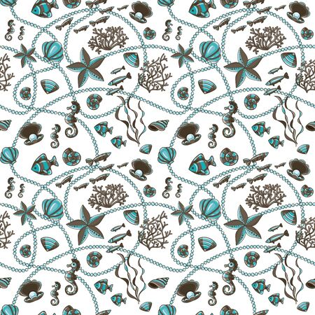Seamless pattern with seashells, corals and starfishes. Marine background.