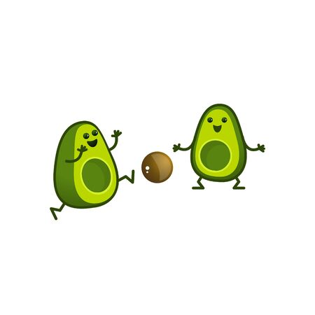 Cartoon avocado characters play footballl. A kawaii avocado cut in half is a sport. Healthy lifestyle illustration isolated on white background.