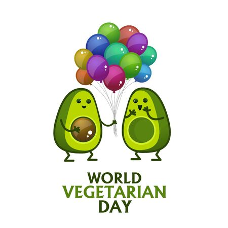 World Vegetarian Day Poster with cartoon characters. Hawaiian avocado stands with balloons and smiles. Isolated objects - top stock vector